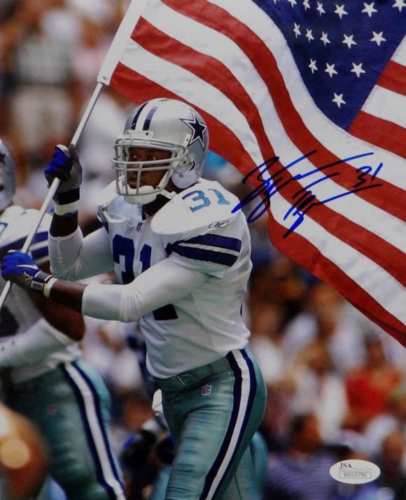 George Teague Autographed Dallas Cowboys 8x10 Holding Flag Photo- JSA W Auth
