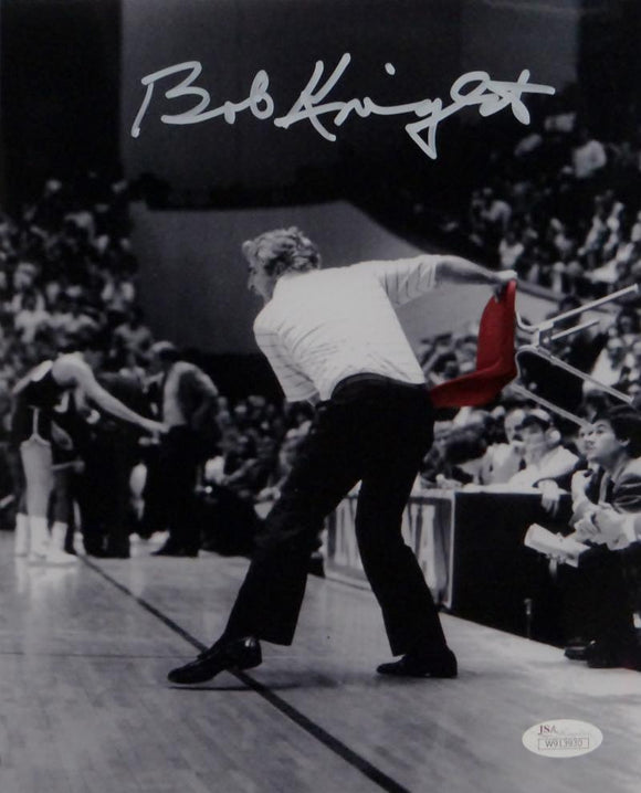 Bob Knight Autographed Indiana 8x10 B&W w/ Red Chair Photo-JSA W Auth *White