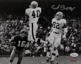 Erich Barnes Autographed 8x10 Cleveland Browns B&W Photo Jumping In Air JSA Auth