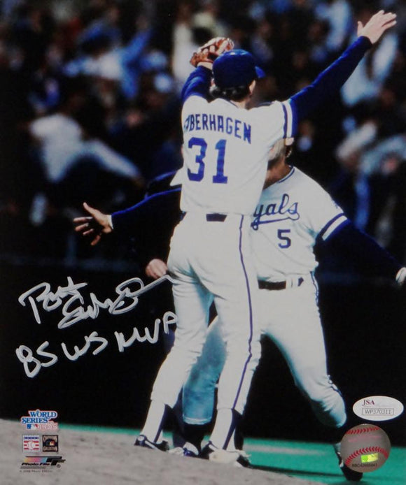 Bret Saberhagen Autographed Royals 8x10 Photo Arms Up P.F. JSA W Auth