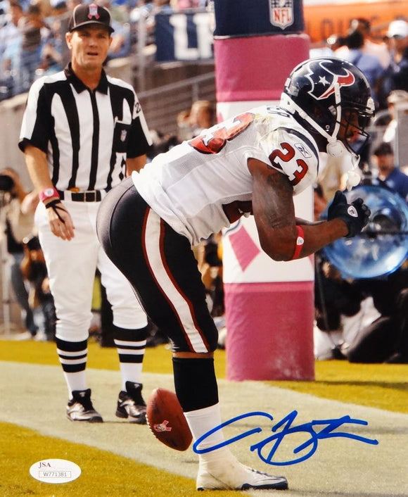 Arian Foster Autographed Texans 8x10 Vertical Side View TD Bow Photo- JSA W Auth