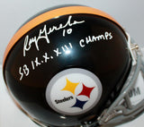 Roy Gerela Signed Steelers 63-76 Mini Helmet W/ SB Champs- Jersey Source *white