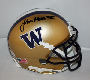 Jon Ross Signed Washington Huskie Gold Mini Helmet - JSA Witness Auth *black*