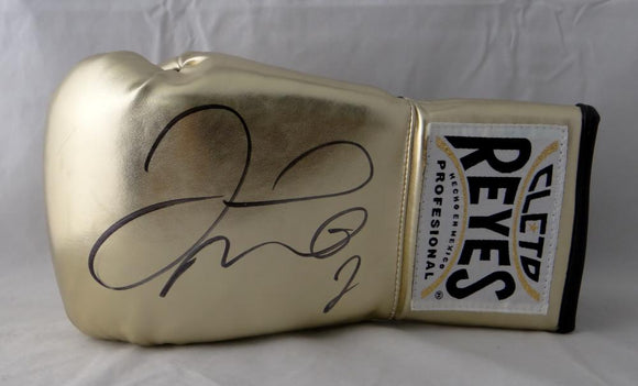 Floyd Mayweather Autographed Gold Cleto Reyes Boxing Glove - Beckett Authentic