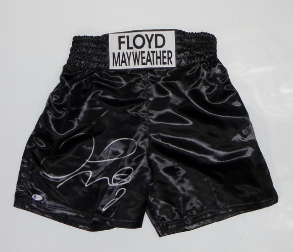 Floyd Mayweather Autographed Black Custom Trunks - Beckett Auth *Silver