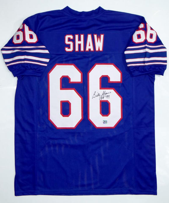 Billy Shaw Autographed Blue Pro Style Jersey With HOF-The Jersey Source Auth
