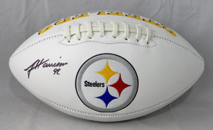 James Harrison Autographed Pittsburgh Steelers Logo Football- JSA W Auth