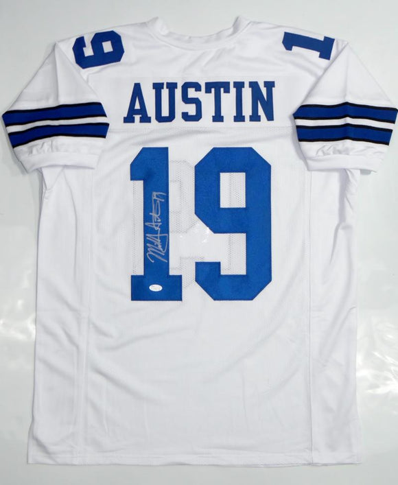 Miles Austin Autographed White Pro Style Jersey- JSA Authenticated