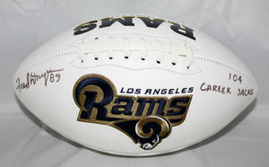 Fred Dryer Autographed Los Angeles Rams Logo Football W/Sacks- SGC Authenticated