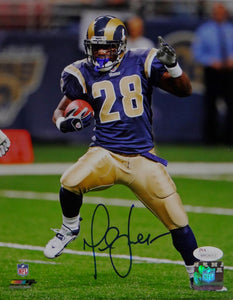Marshall Faulk Autographed St Louis Rams 8x10 On Field PF Photo- JSA W Auth