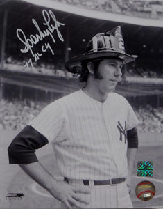 Sparky Lyle Autographed NY Yankees 8x10 B&W Fireman's Hat Photo- Jersey Source Auth