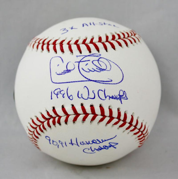 Cecil Fielder Autographed Rawlings OML Baseball 3 Inscriptions -JerseySource Auth
