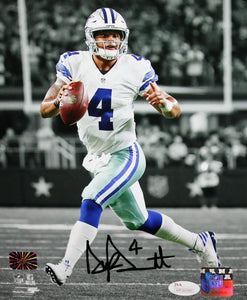 Dak Prescott Autographed Dallas Cowboys 8x10 B&W Looking to Pass Photo JSAW Auth