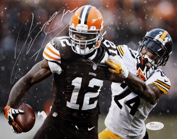 Josh Gordon Autographed 8x10 Running Against Steelers Photo- JSA W Authenticated