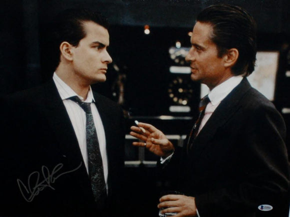 Charlie Sheen Autographed Wall Street *Silver 16x20 Photo- Beckett Auth