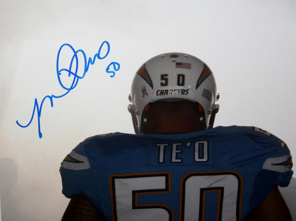 Manti T'eo Chargers Autographed 8x10 Back View Photo- JSA Witness Authenticated