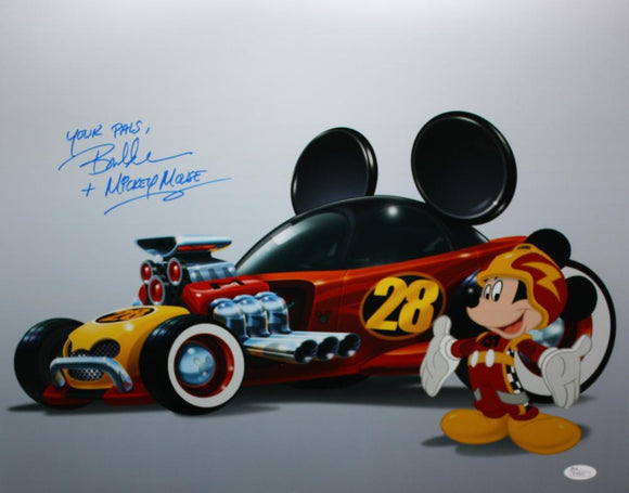 Bret Iwan Autographed Mickey Mouse w/ Race Car 16x20 Photo- JSA Authenticated