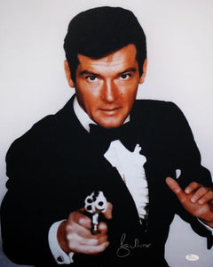 Roger Moore Autographed 16x20 James Bond in Tuxedo - JSA Authenticated