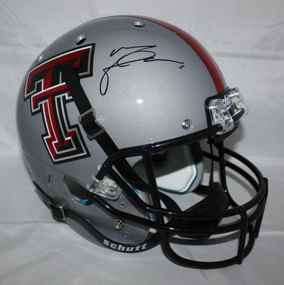 Michael Crabtree Signed Texas Tech Full Size Grey Schutt Helmet - JSA Witness Auth