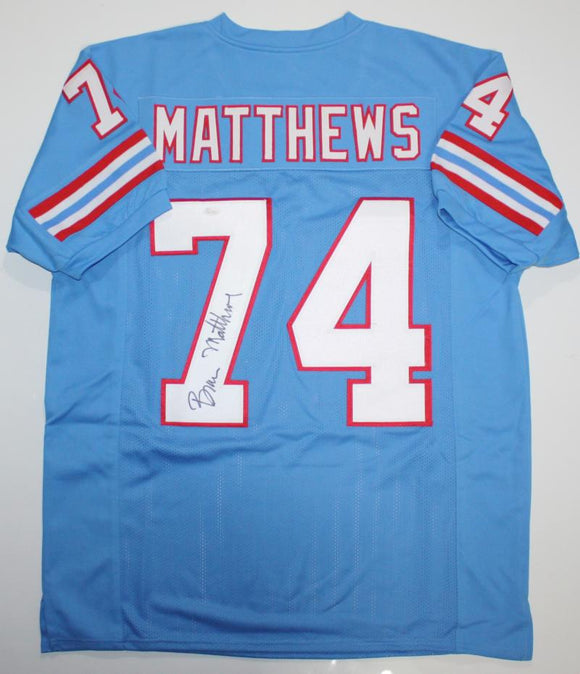 Bruce Matthews Autographed Blue Pro Style Jersey- JSA Witness Authenticated *7 N/O