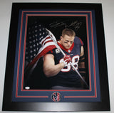 JJ Watt Autographed Houston Texans Framed 16x20 American Flag Photo- JSA W Auth