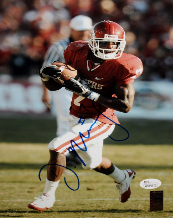 DeMarco Murray Autographed 8x10 Oklahoma Sooners Running Photo- JSA Witness Authenticated