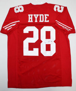 Carlos Hyde Autographed Red Pro Style Jersey- JSA W Auth *8