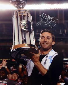 Kliff Kingsbury Autographed 16x20 Holding Holiday Bowl Trophy Photo- JSA Witness Auth
