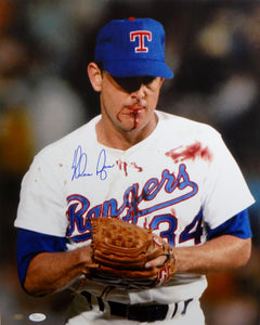 Nolan Ryan Signed Texas Rangers 16x20 Bloody Lip Photo- JSA Authenticated *Blue