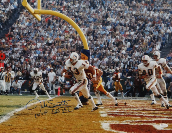 Jake Scott Autographed *Blue Dolphins 16x20 Horizontal Running Photo- JSA W Auth