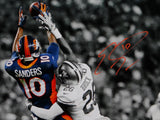 Emmanuel Sanders Autographed Broncos 16x20 B&W Color Catch Photo- JSA W Auth