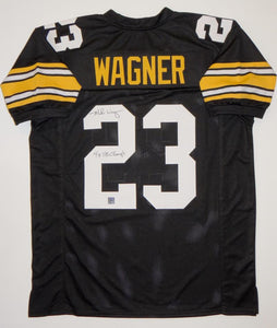 Mike Wagner Signed Black Pro Style Jersey W/ SB Champs- The Jersey Source Auth