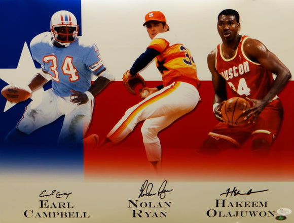 Earl Campbell Nolan Ryan Olajuwon Signed 16x20 Houston Legends Photo- JSA *Black