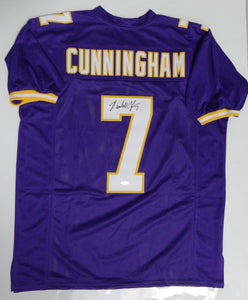 Randall Cunningham Autographed Purple Pro Style Jersey- JSA Witnessed Auth