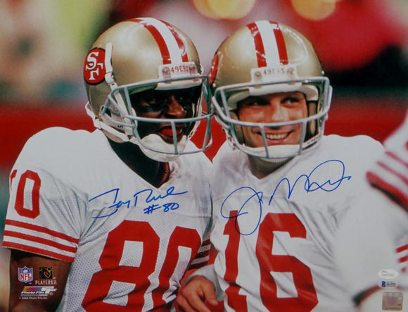 Joe Montana Jerry Rice Autographed 49ers 16x20 Smiling Photo- JSA W/Beckett Auth *Blue