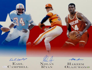 Earl Campbell Nolan Ryan Olajuwon Signed 16x20 Houston Legends Photo- JSA W Auth *Blue