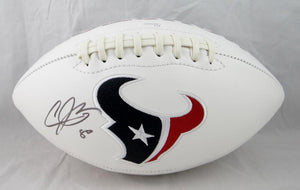 Andre Johnson Autographed Houston Texans Logo Football- JSA W Authenticated