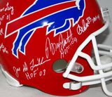 Buffalo Bill Hall of Famers Autographed Full Size TB Helmet- JSA Witnessed Auth