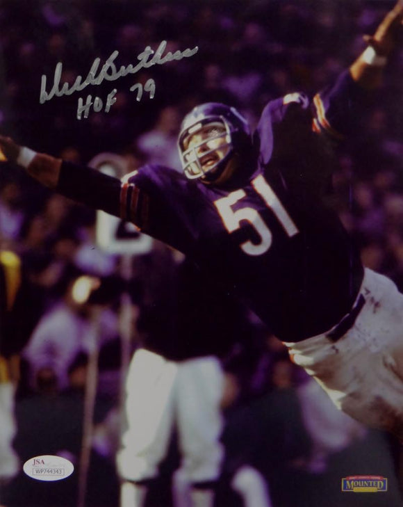 Dick Butkus HOF Autographed Chicago Bears 8x10 Diving Photo- JSA W Auth *Silver