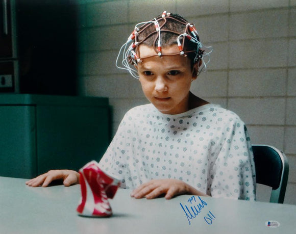 Millie Bobby Brown Signed Stranger Things 16x20 Crushing Can Photo- Beckett Auth