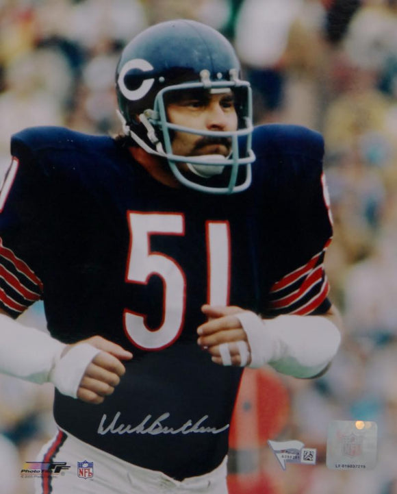 Dick Butkus Autographed Chicago Bears 8x10 Close Up PF Photo- Fanatics Auth *Silver