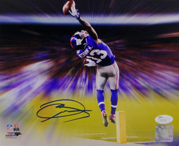 Odell Beckham Autographed NY Giants 8x10 The Catch Effect PF Photo- JSA Auth *Blue