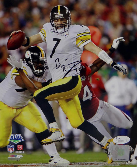 Ben Roethlisberger Signed Steelers 8x10 Running SB XLIII PF Photo- JSA Auth *Black