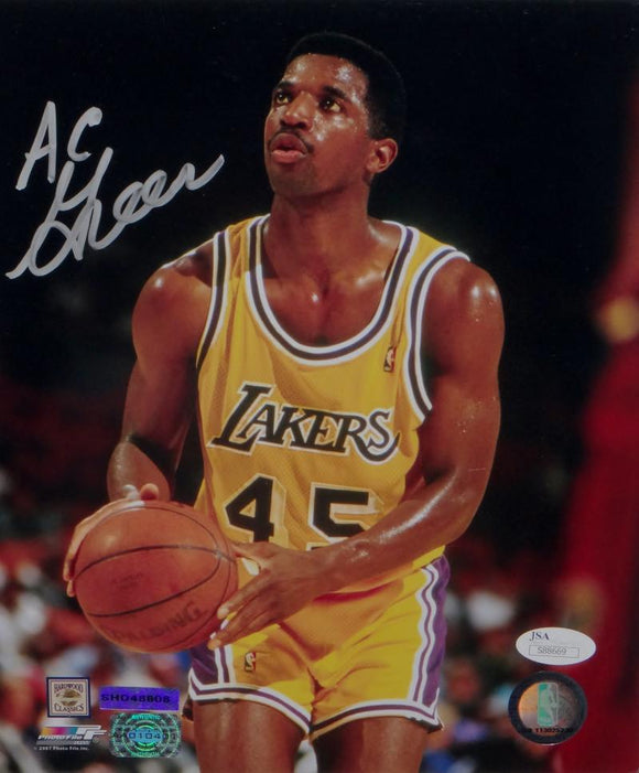 A. C. Green Signed LA Lakers 8x10 Shooting Free Throw PF Photo- JSA Auth *Silver
