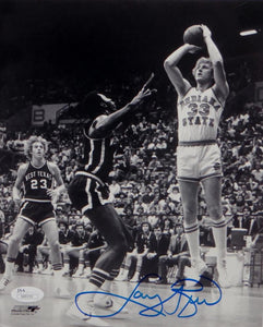 Larry Bird Autographed Indiana State 8x10 B&W Shooting PF Photo- JSA Auth *Blue