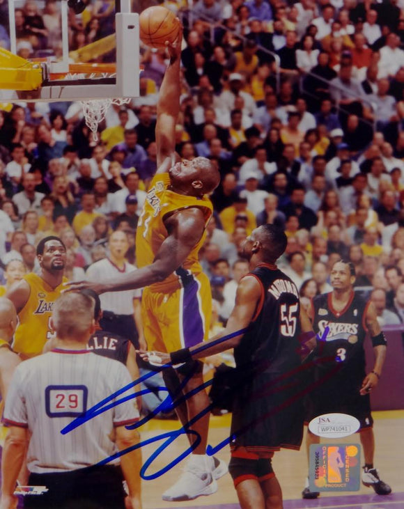Shaquille O'Neal Signed Lakers 8x10 Dunking Against Sixers PF Photo- JSA W Auth