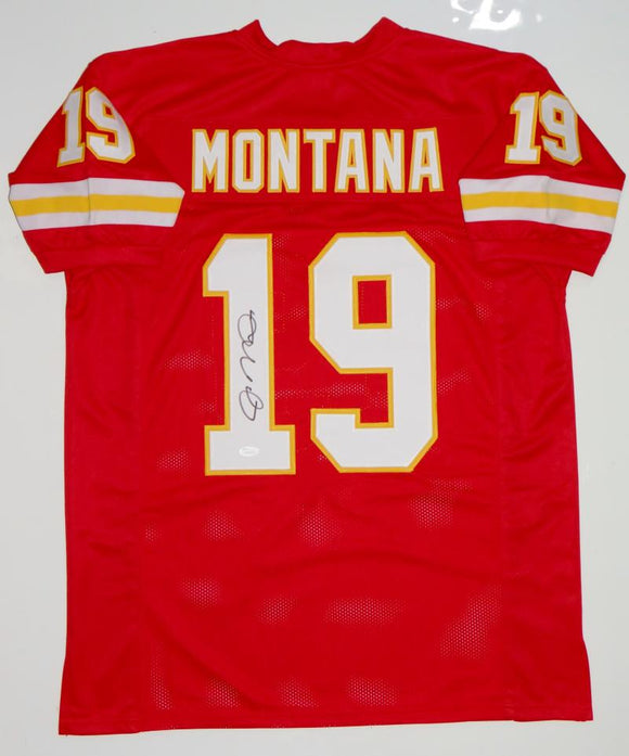 Joe Montana Autographed Red with Yellow Pro Style Jersey- JSA Witnessed Auth