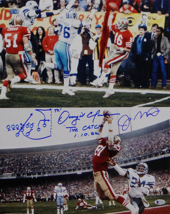 Joe Montana Dwight Clark Signed 49ers 16x20 The Catch V Photo-Beckett Auth *Blue