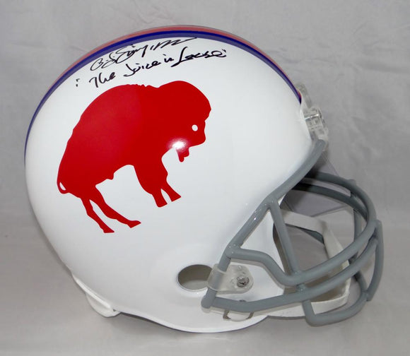 O. J. Simpson Signed Bills F/S 65-73 TB Helmet w/ The Juice is Loose- JSA W Auth *Blk