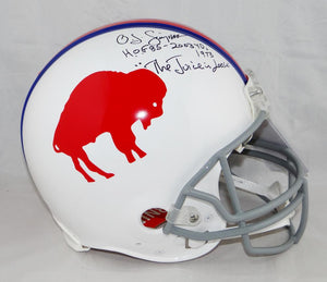 O.J. Simpson Signed Bills F/S Authentic 65-73 TB Helmet W/ 3 Insc- JSA W Auth *Blk